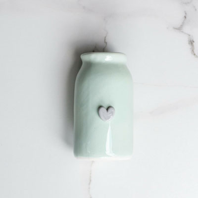 Ceramic Bottle with Heart Green