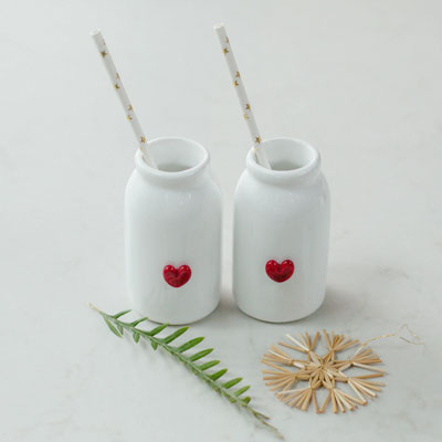 Ceramic Bottle with Heart White
