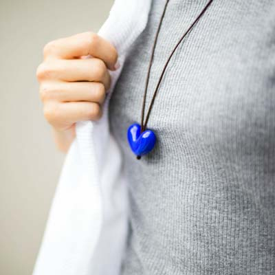 Long Leather Heart Necklace 2