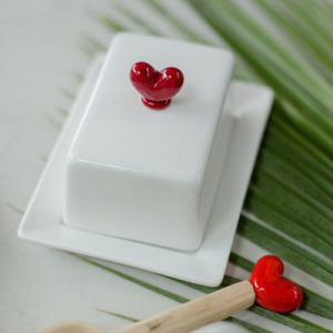 Small Butter Dish Red