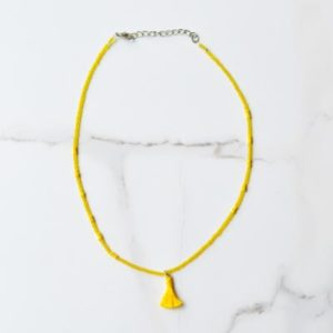 Short Beaded Necklace with Tassel